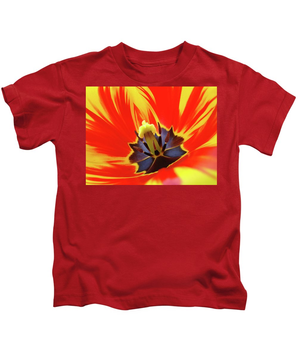 Tulip Kids T-Shirt featuring the photograph Tulip Flower Floral Art Print Red Yellow Tulips Baslee Troutman by Baslee Troutman