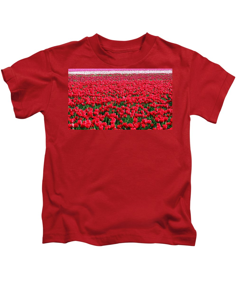 Tulips Kids T-Shirt featuring the photograph Tulips By The Million by Will Borden