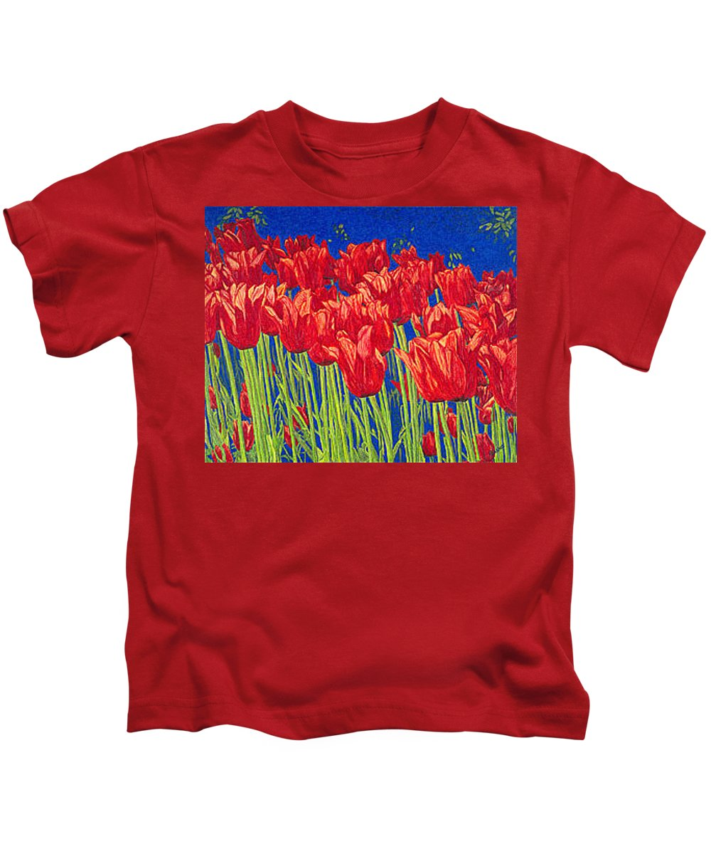 Tulips Kids T-Shirt featuring the drawing Tulips Tulip Flowers Fine Art Print Giclee High Quality Exceptional Color Garden Nature Botanical by Baslee Troutman