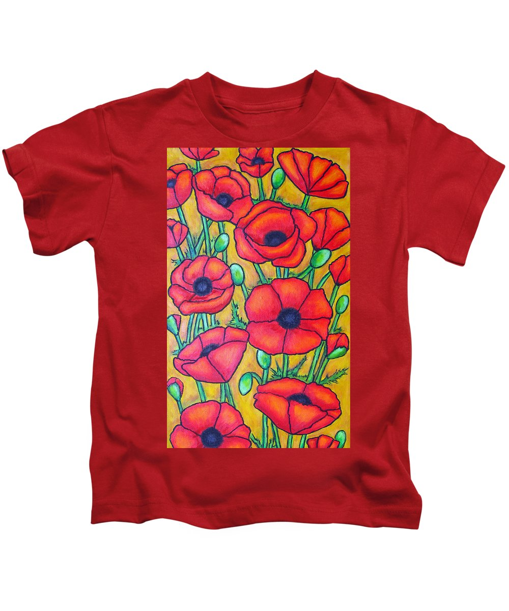 Poppies Kids T-Shirt featuring the painting Tuscan Poppies - Crop 1 by Lisa Lorenz