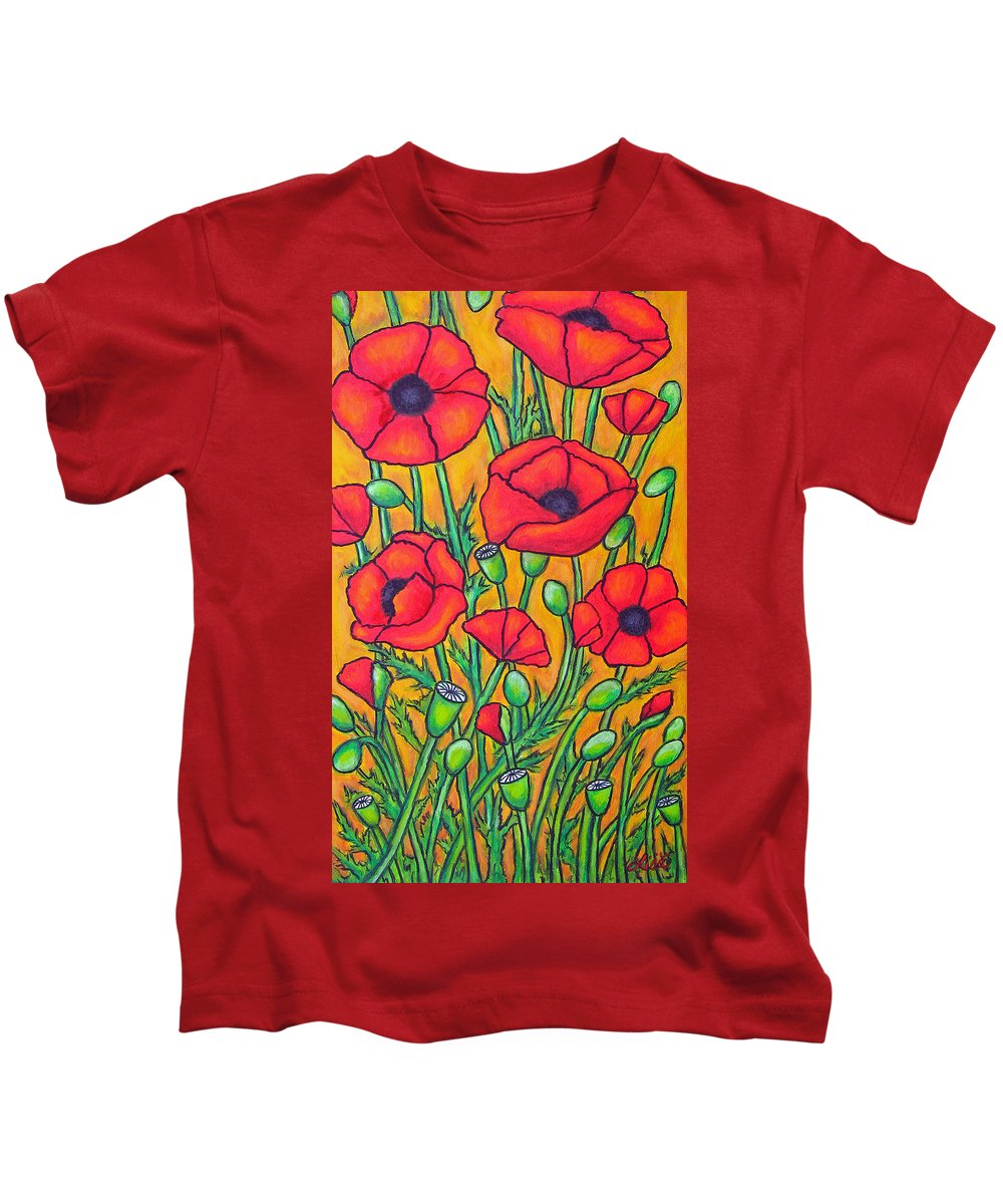 Poppies Kids T-Shirt featuring the painting Tuscan Poppies - Crop 2 by Lisa Lorenz