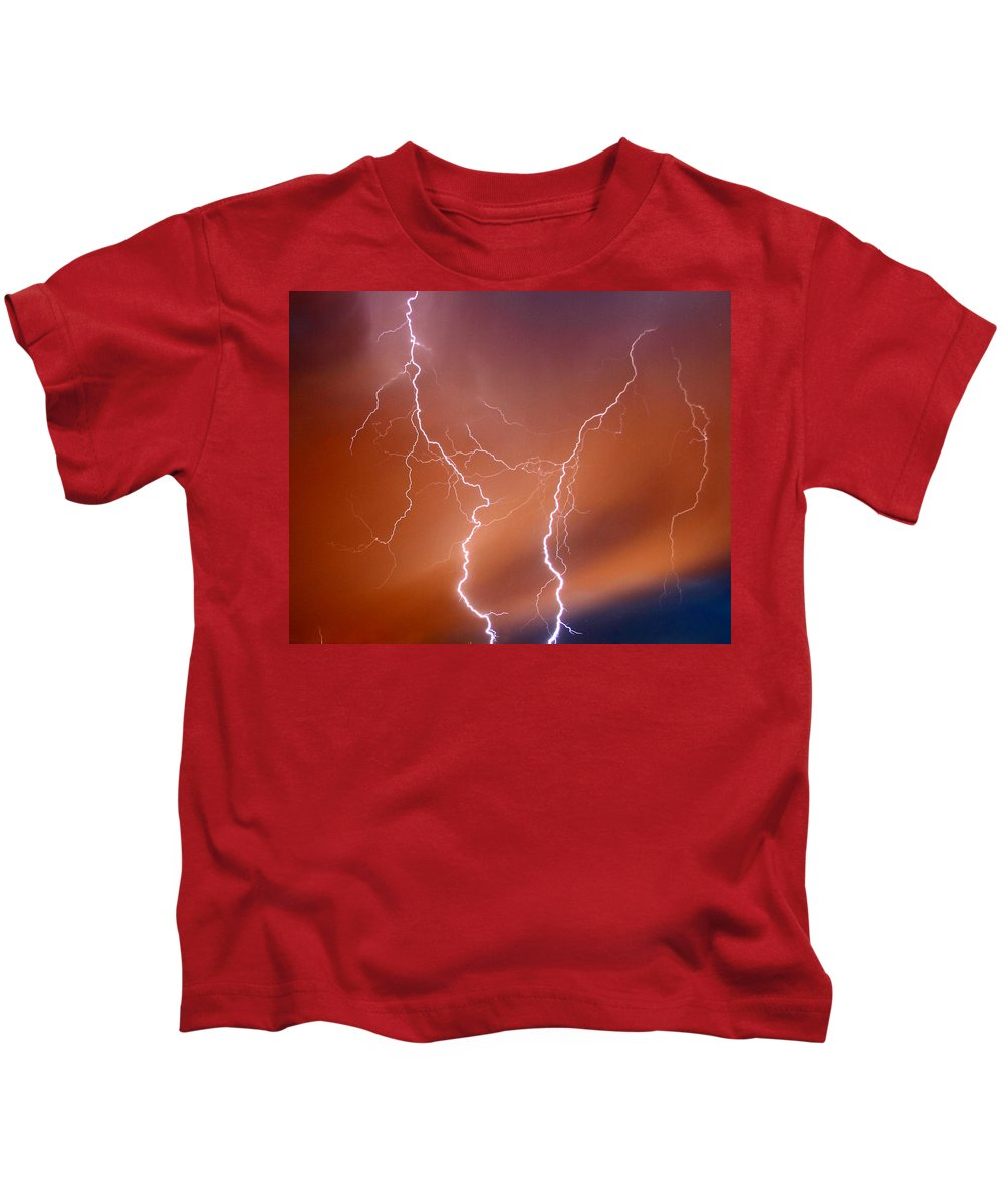 Lightning Kids T-Shirt featuring the photograph Twin Strike by Anthony Jones