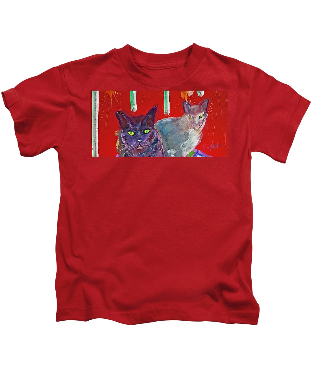 Cat Kids T-Shirt featuring the painting Two Posh Cats by Charles Stuart
