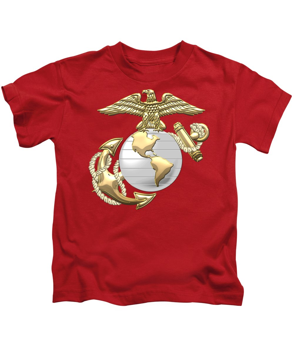 76950b04591ad U. S. Marine Corps Eagle Globe And Anchor - E G A On Red Leather Kids T- Shirt for Sale by Serge Averbukh