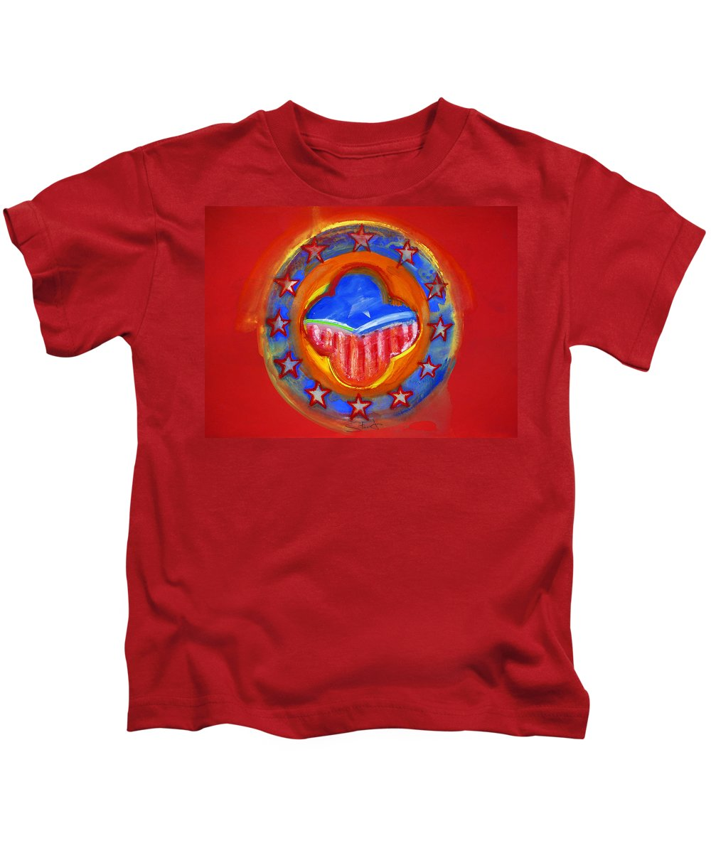 Symbol Kids T-Shirt featuring the painting United States Of Europe by Charles Stuart