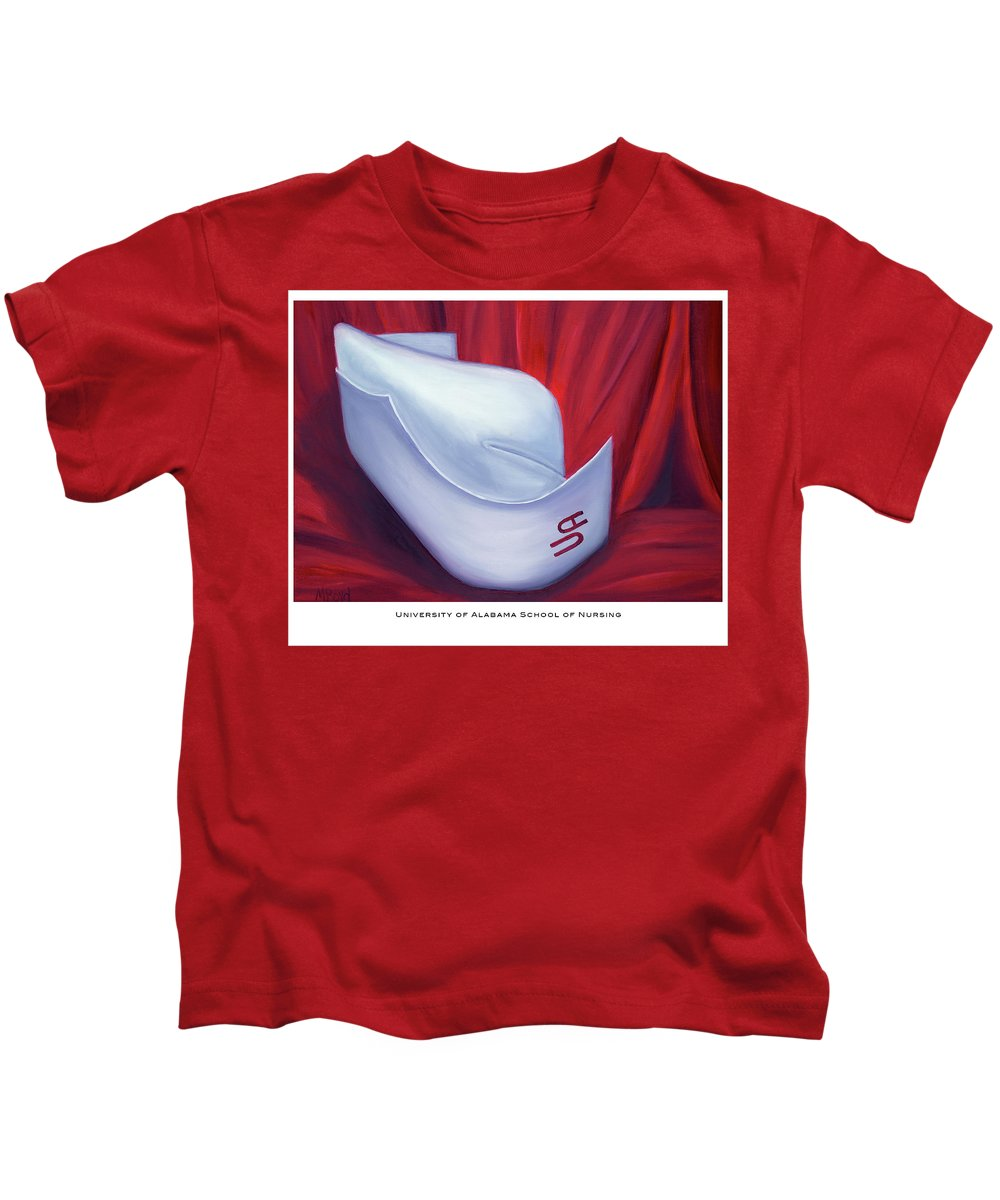 Nurse Kids T-Shirt featuring the painting University Of Alabama School Of Nursing by Marlyn Boyd