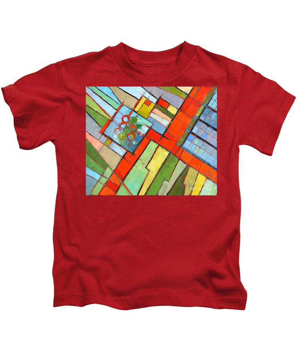 Urban Composition-abstract Zoning Plan Kids T-Shirt featuring the painting Urban Composition - Abstract Zoning Plan by Mona Edulesco