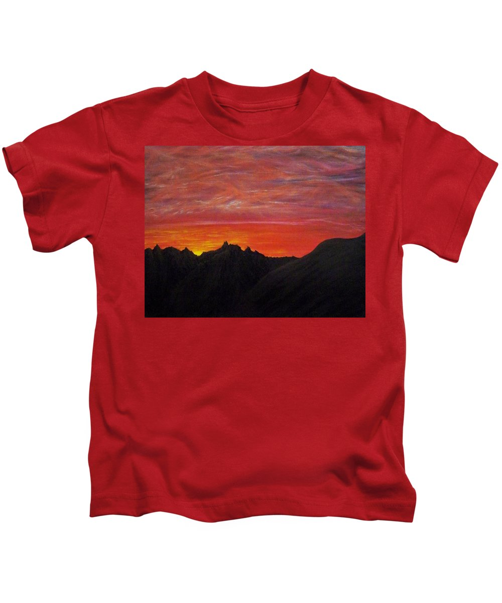 Sunset Kids T-Shirt featuring the painting Utah Sunset by Michael Cuozzo