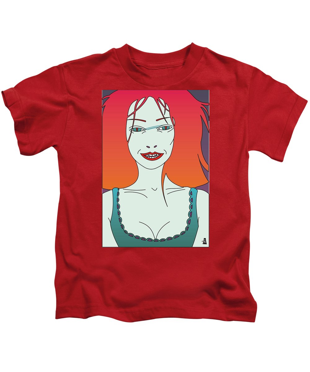 Illustration Kids T-Shirt featuring the digital art Vamp by Slobodan Milutinovic