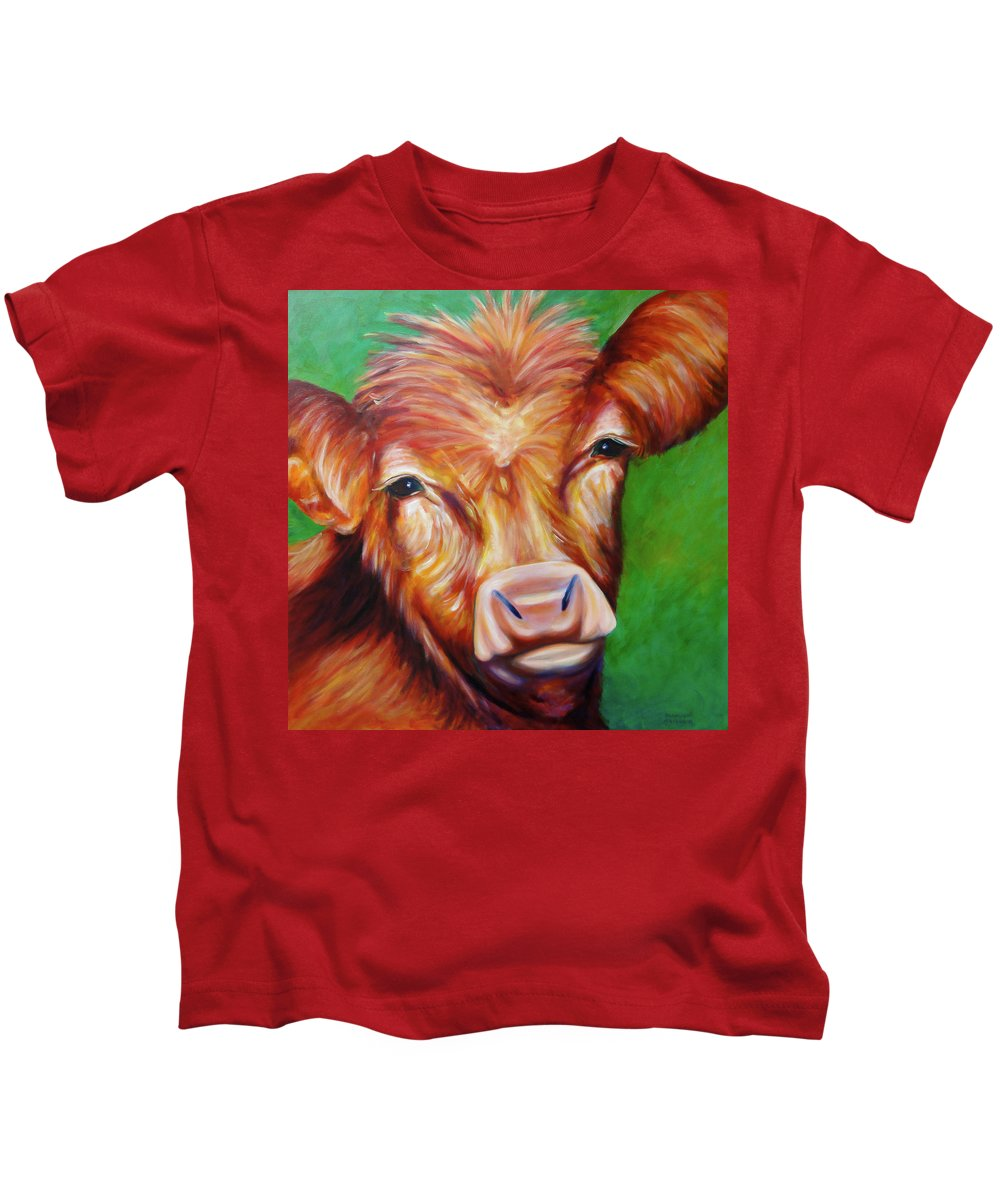 Bull Kids T-Shirt featuring the painting Van by Shannon Grissom