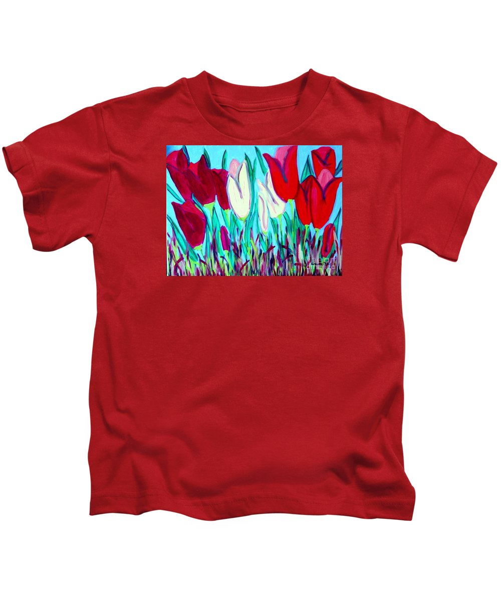 Tulips Kids T-Shirt featuring the painting Velvet Tulips by Laurie Morgan