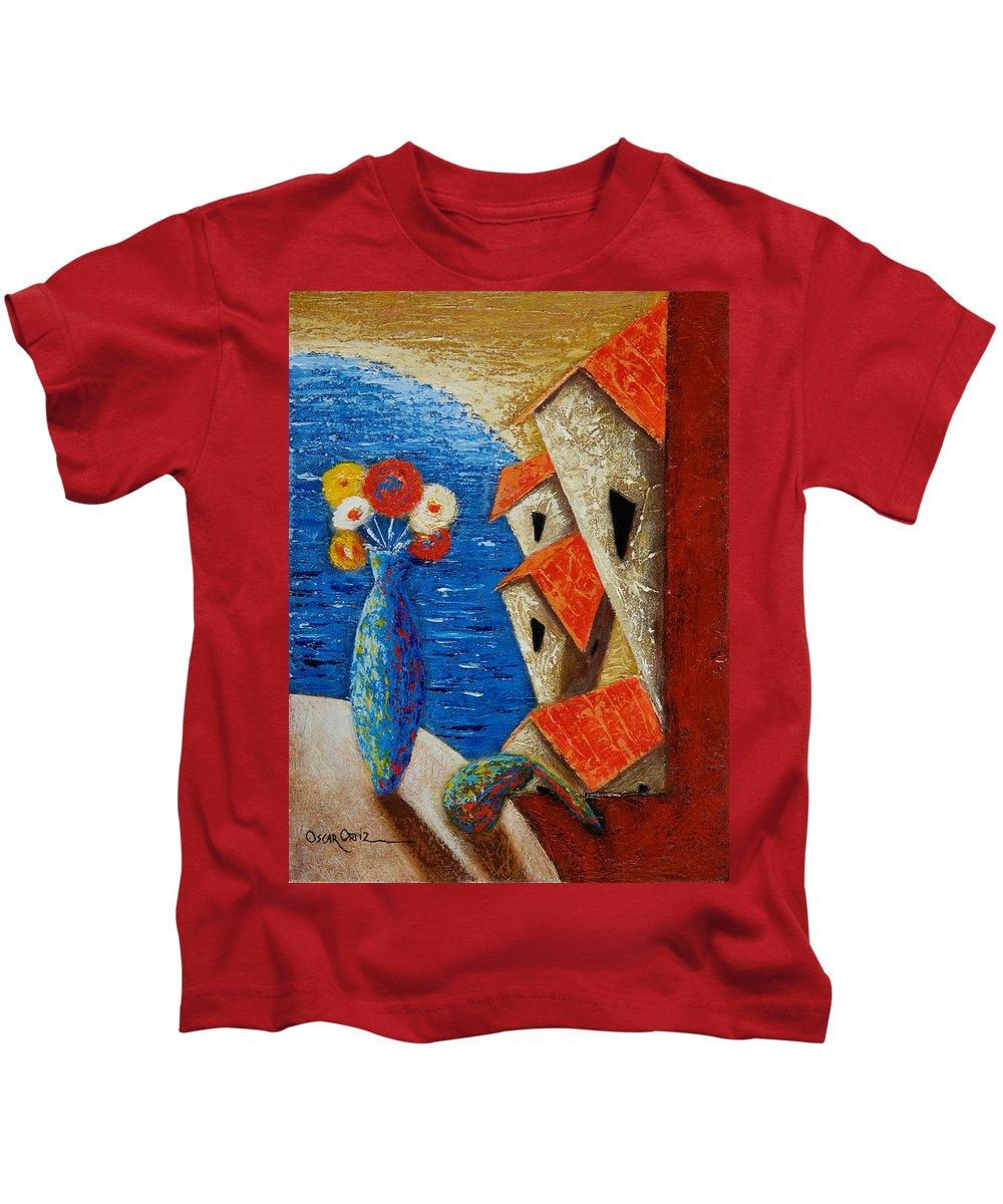 Landscape Kids T-Shirt featuring the painting Ventana Al Mar by Oscar Ortiz