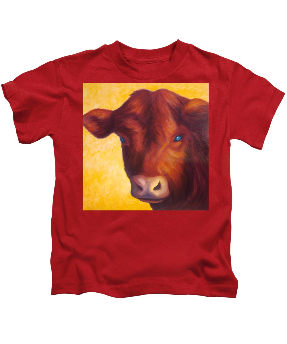 Bull Kids T-Shirt featuring the painting Vern by Shannon Grissom