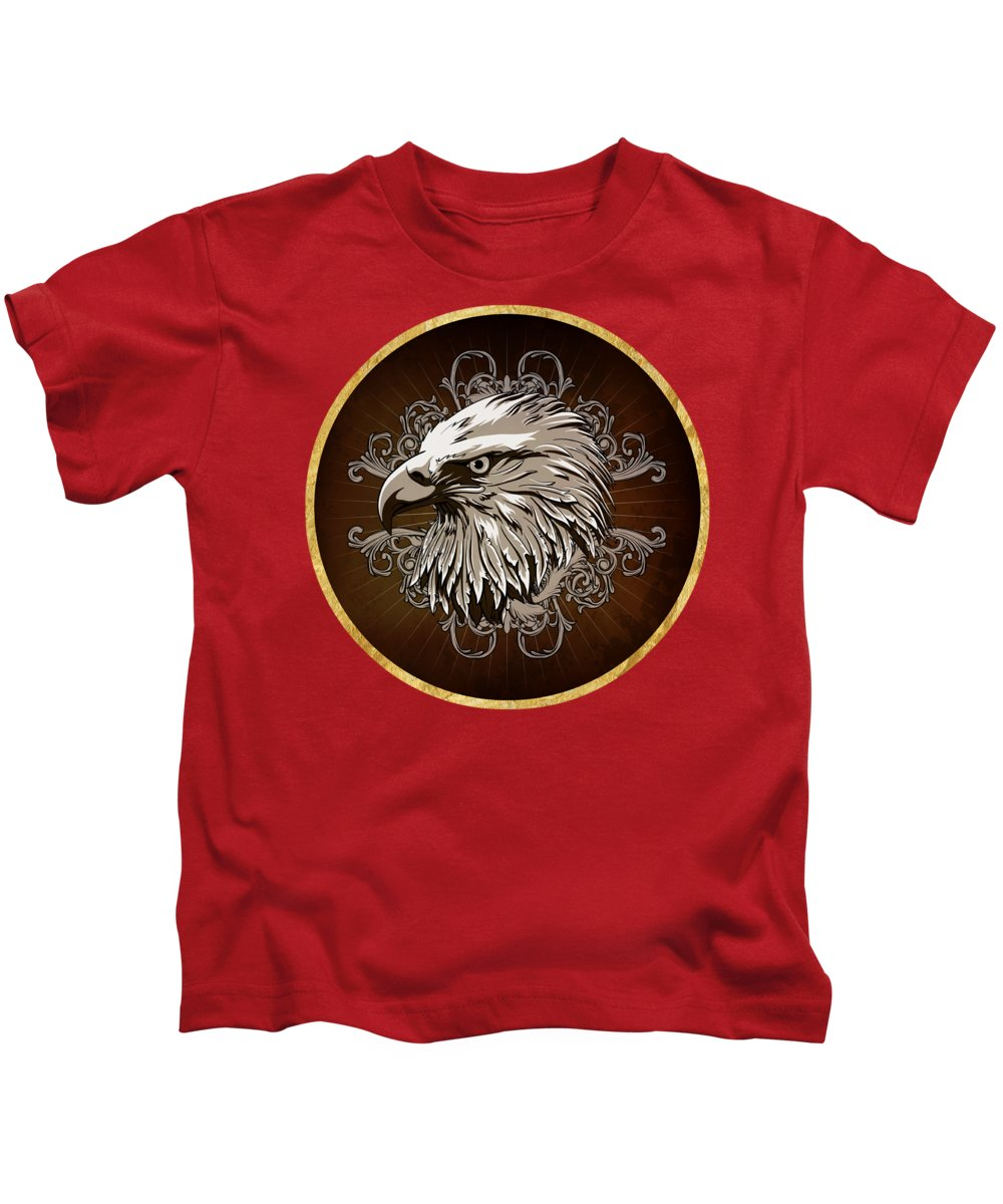 American Bald Eagle Kids T-Shirt featuring the painting Vintage American Bald Eagle by Elaine Plesser