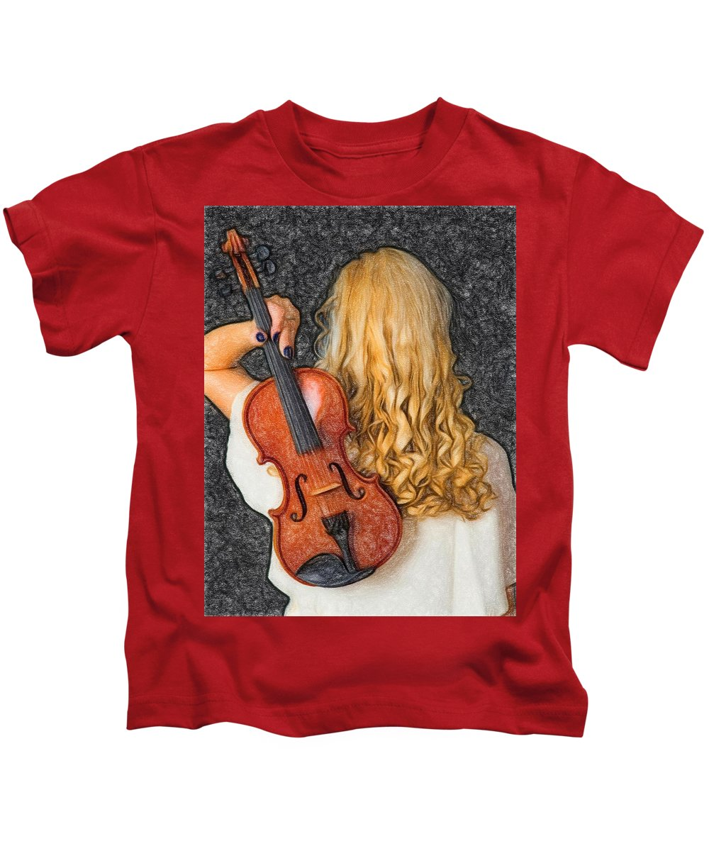 Music Kids T-Shirt featuring the painting Violin Woman - Id 16218-130709-0128 by S Lurk