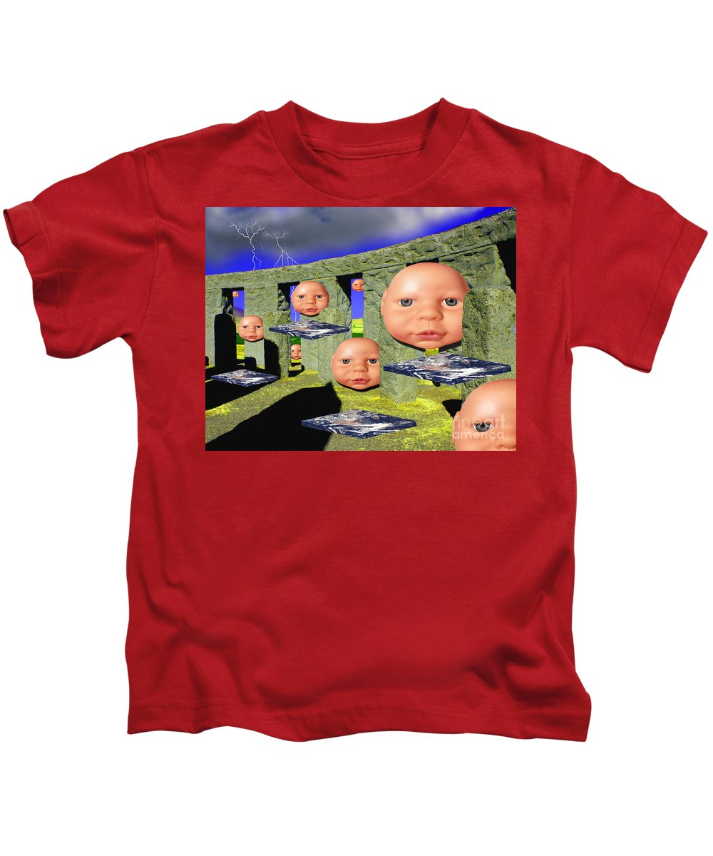Landscape Kids T-Shirt featuring the digital art Virtual Stonehedge by Keith Dillon
