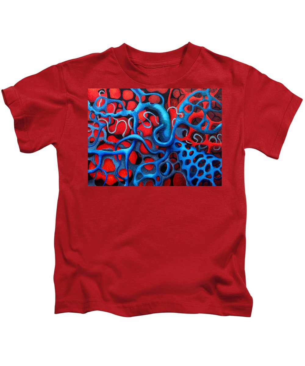 Abstract Kids T-Shirt featuring the painting Vital Network 2 by Nancy Mueller