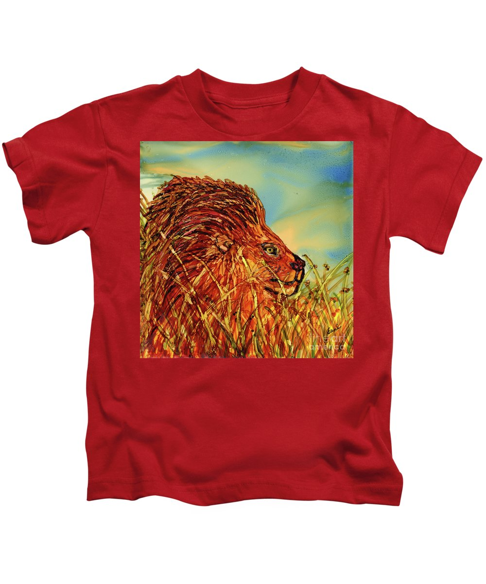Lion Kids T-Shirt featuring the painting Waiting For His Prey by Eunice Warfel