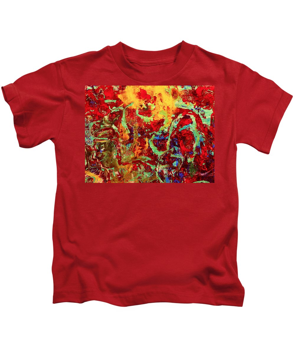 Abstract Kids T-Shirt featuring the painting Walking In The Garden by Natalie Holland