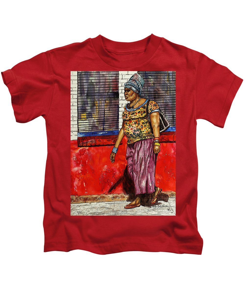 South Georgia Kids T-Shirt featuring the painting Walking To The Library by Shirley Sykes Bracken