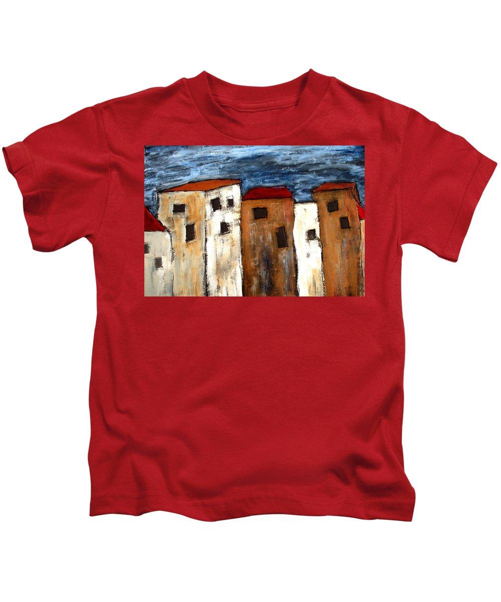 Acrylic Kids T-Shirt featuring the painting Warehouse Row by Wayne Potrafka