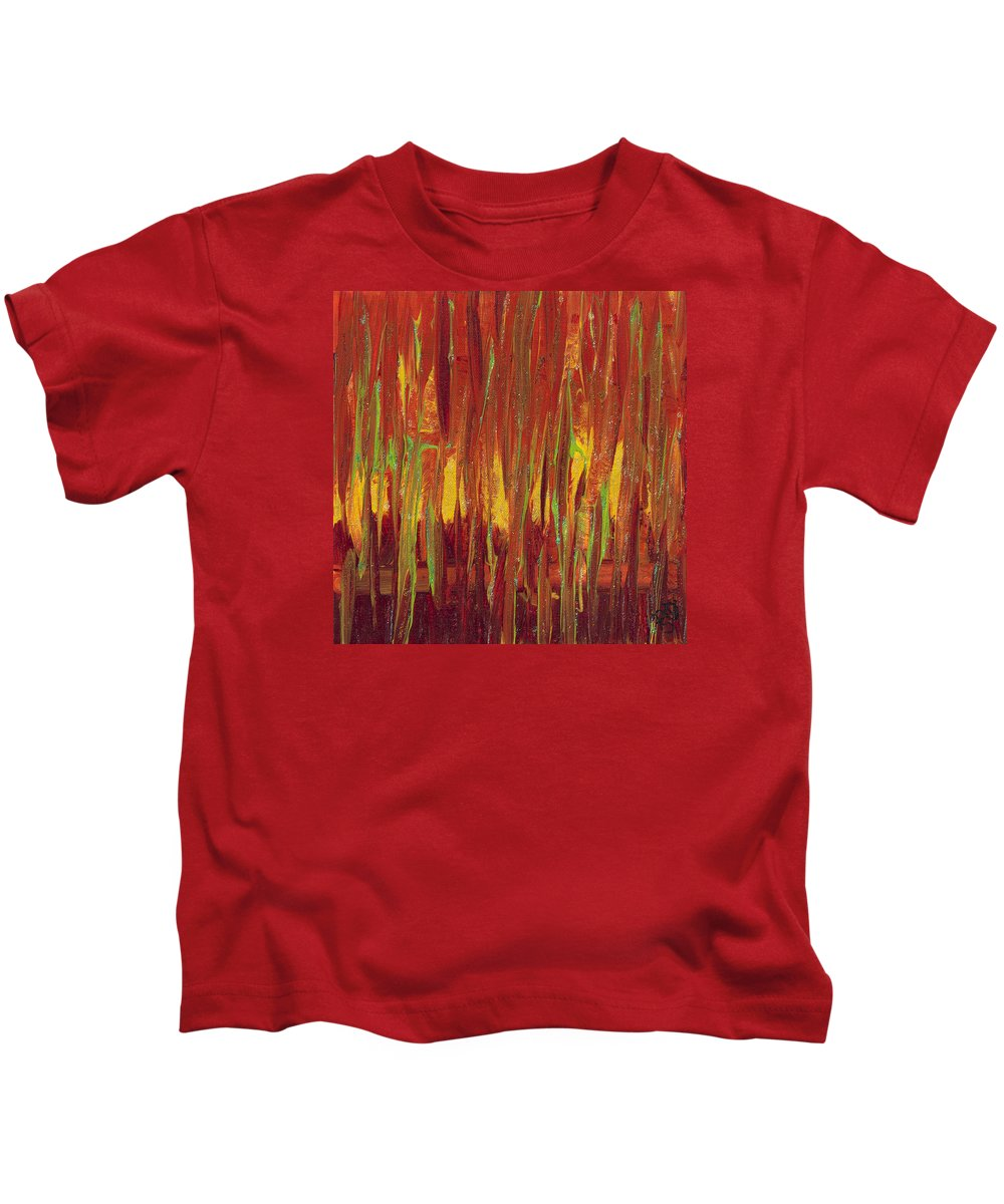 Red Kids T-Shirt featuring the painting Warm Tones by Patty Vicknair