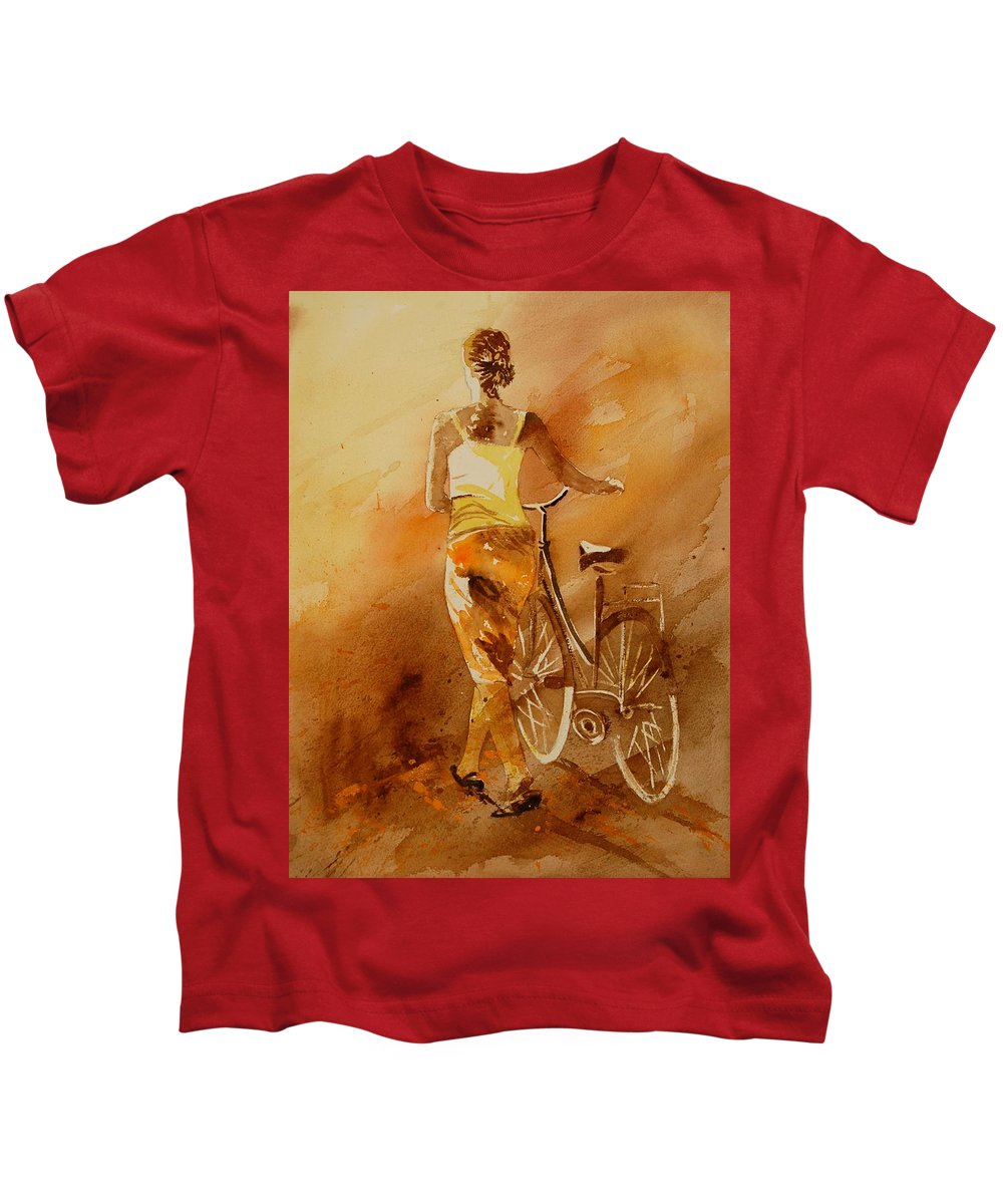 Figurative Kids T-Shirt featuring the painting Watercolor With My Bike by Pol Ledent
