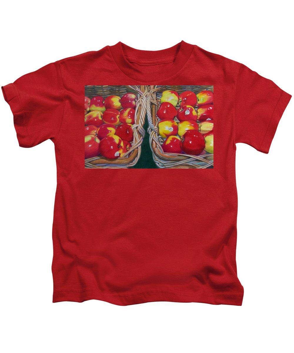 Apple Kids T-Shirt featuring the mixed media Wegman's Best by Constance Drescher