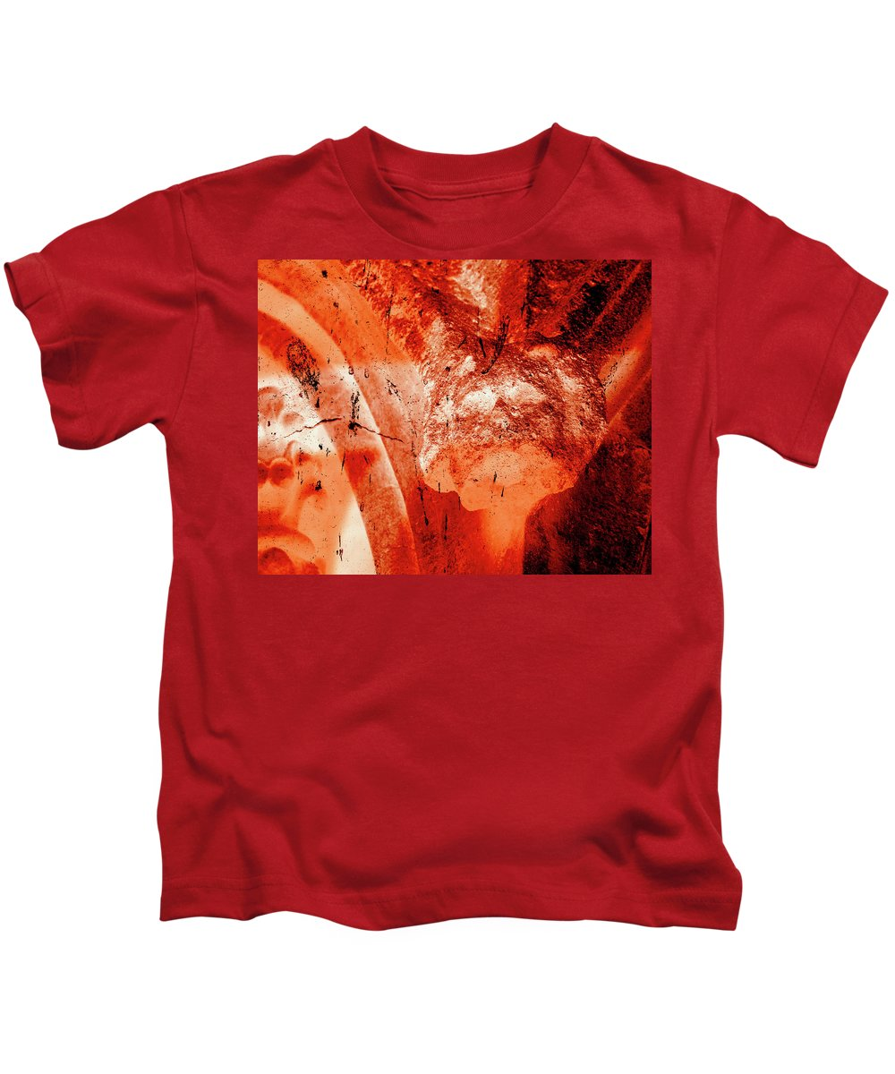 Aged Kids T-Shirt featuring the photograph Wells Cathedral Gargoyles Color Negative B by Jacek Wojnarowski
