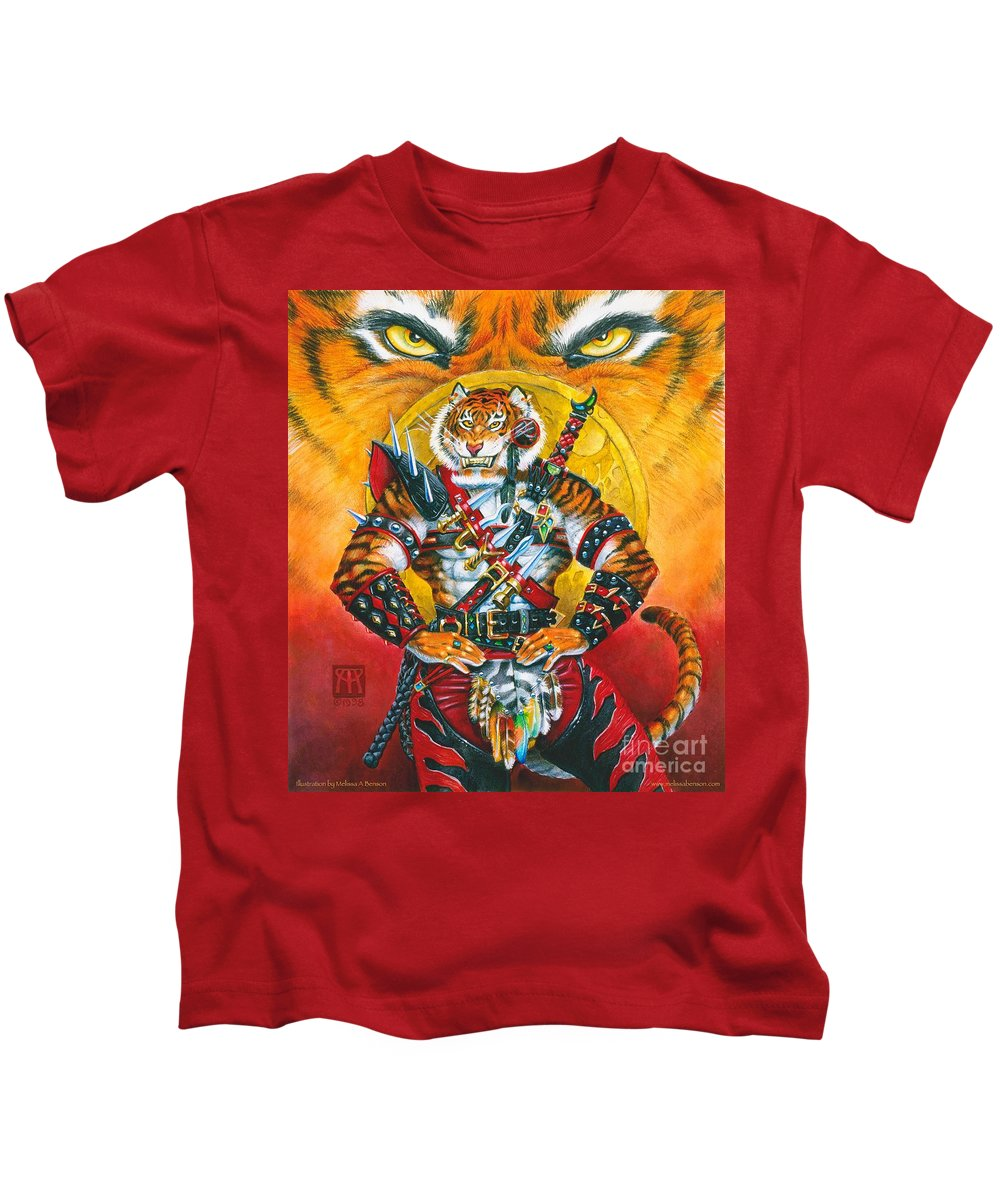Fantasy Kids T-Shirt featuring the painting Werecat Warrior by Melissa A Benson