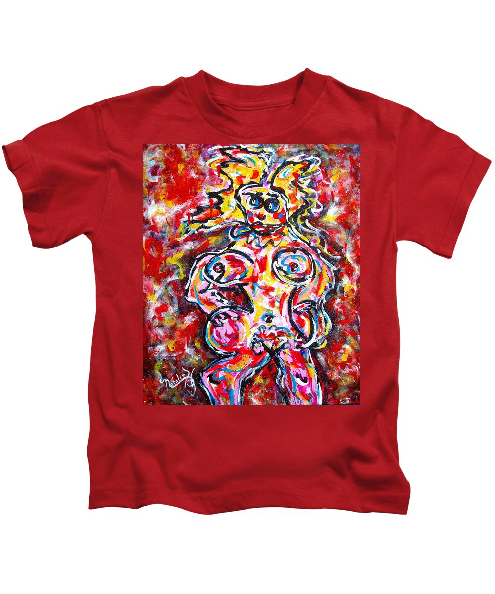 Abstracts Kids T-Shirt featuring the painting What Are You Looking At by Natalie Holland