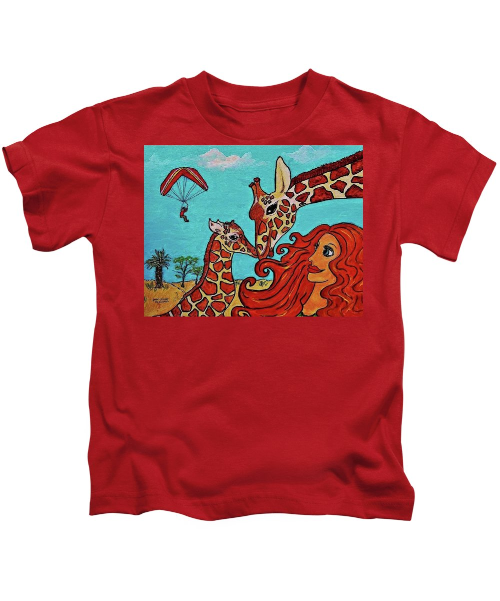 Redhead Girl Giraffes Parasailer Kids T-Shirt featuring the painting Who's Surprising Who??? by Janice Heinzelman