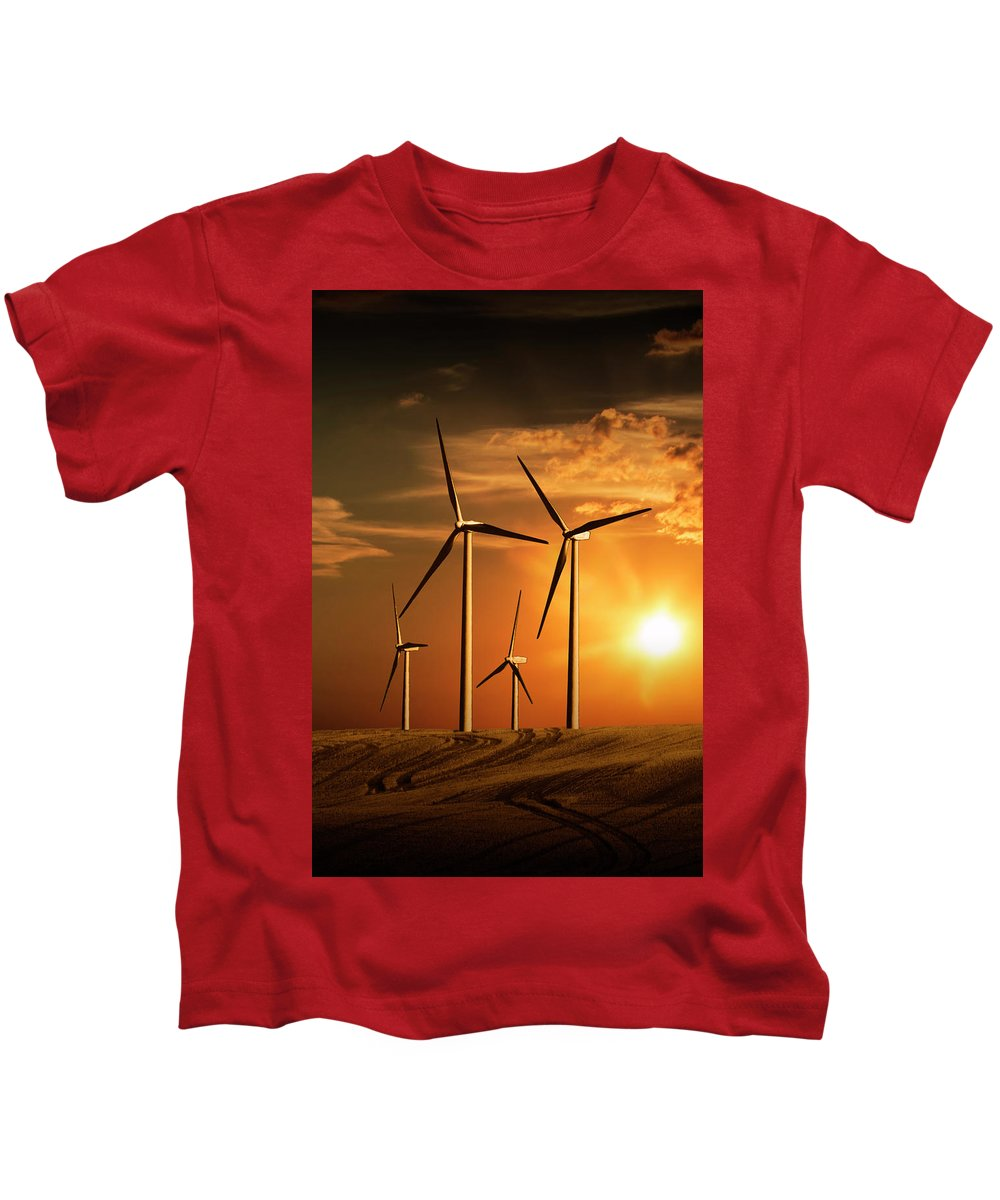 Art Kids T-Shirt featuring the photograph Wind Turbines In Alberta Canada At Sunset by Randall Nyhof