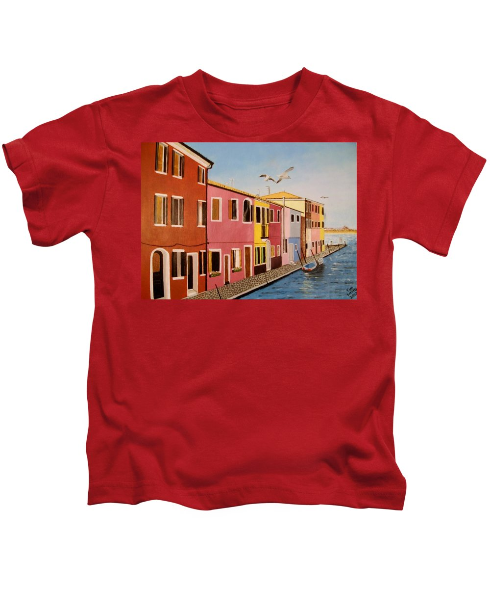 Venice Kids T-Shirt featuring the painting Wingin It In Venice by Tim Smith