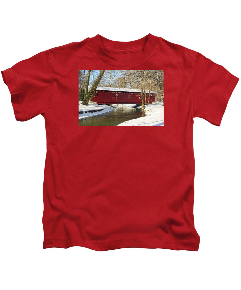 Covered Bridge Kids T-Shirt featuring the photograph Winter Bridge by Margie Wildblood