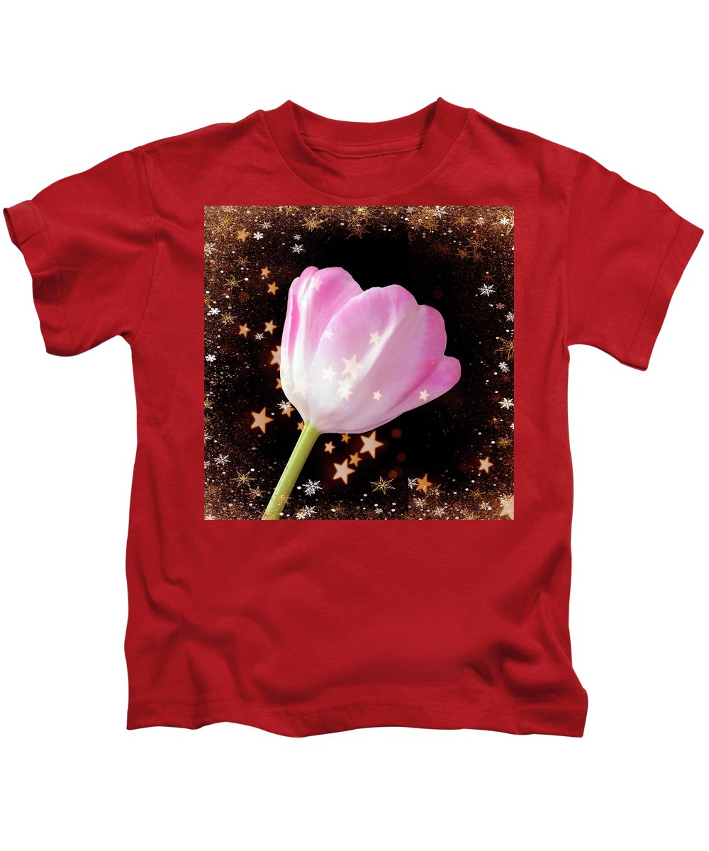 Tulip Kids T-Shirt featuring the photograph Winter Tulip With Gold Snow And Stars by Johanna Hurmerinta