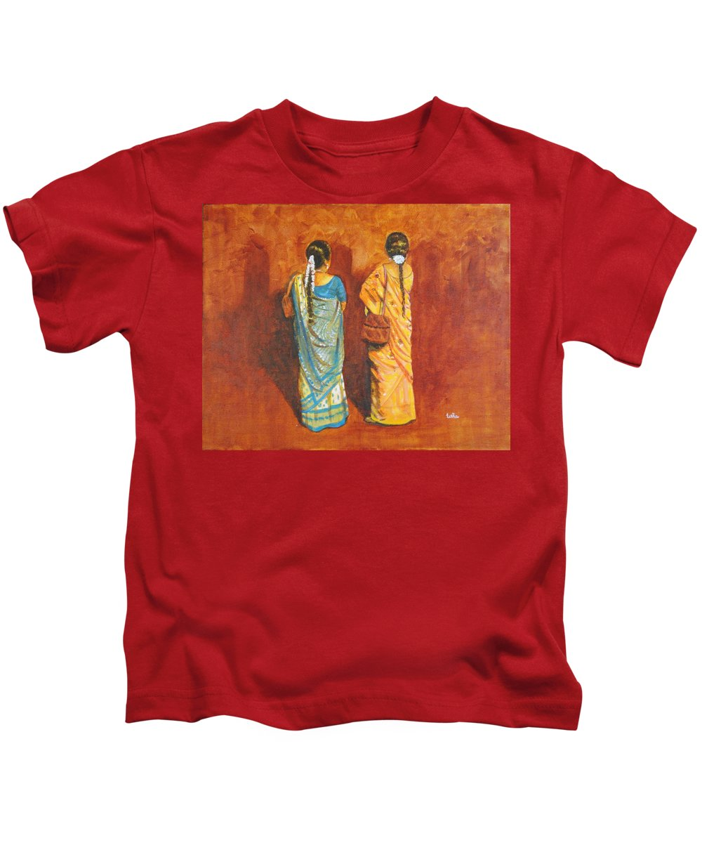 Women Kids T-Shirt featuring the painting Women In Sarees by Usha Shantharam