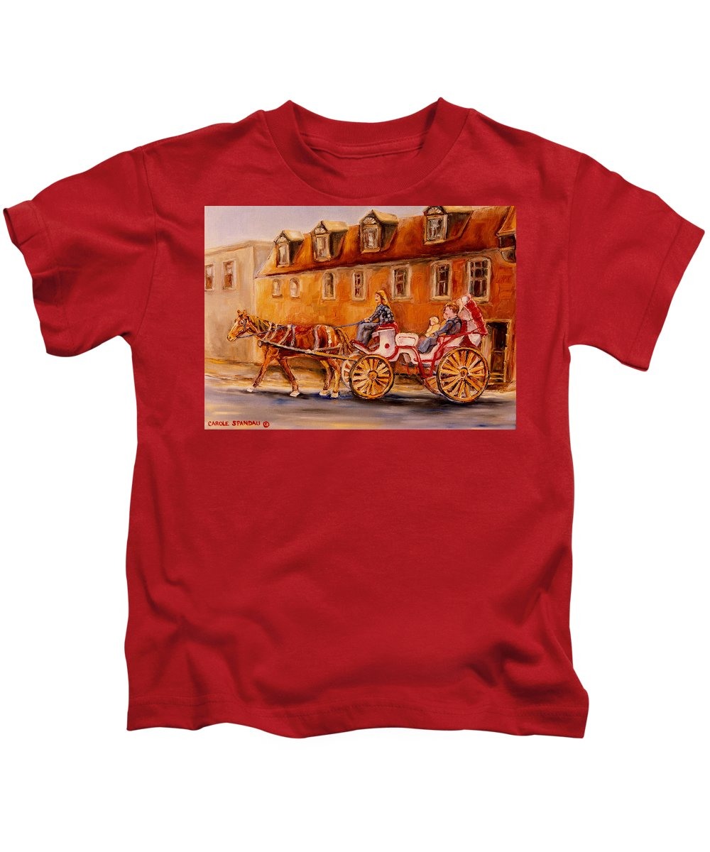 Quebec City Kids T-Shirt featuring the painting Wonderful Carriage Ride by Carole Spandau