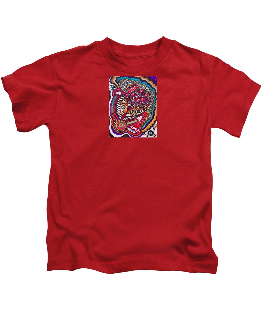 Heart Kids T-Shirt featuring the painting Wondering What's Next - Vii by Laurel Rosenberg
