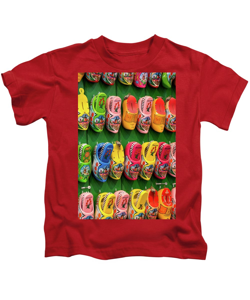 Amsterdam Kids T-Shirt featuring the photograph Wooden Shoes From Amsterdam by Elisabeth De vries