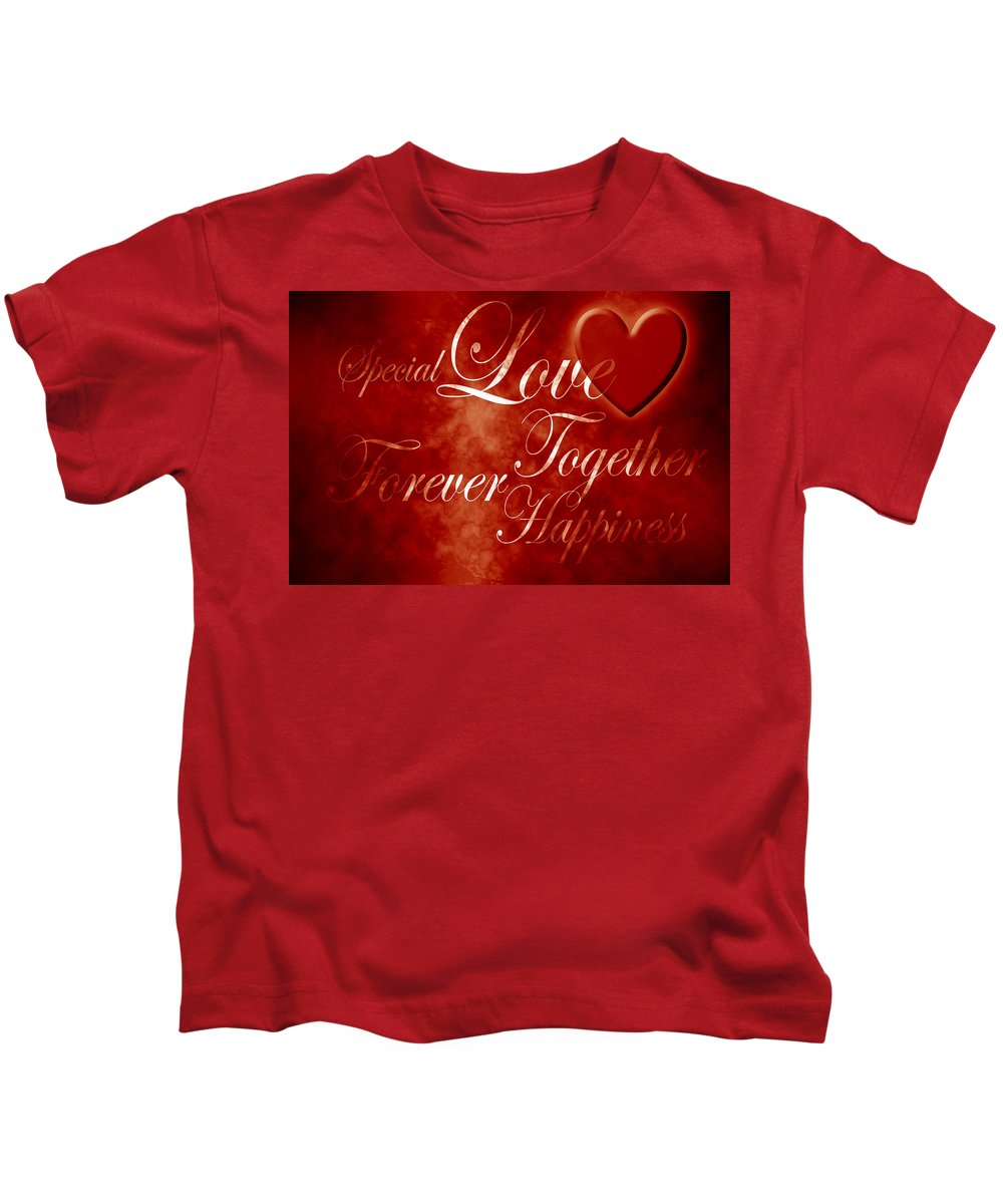 Love Kids T-Shirt featuring the digital art Words Of Love by Phill Petrovic