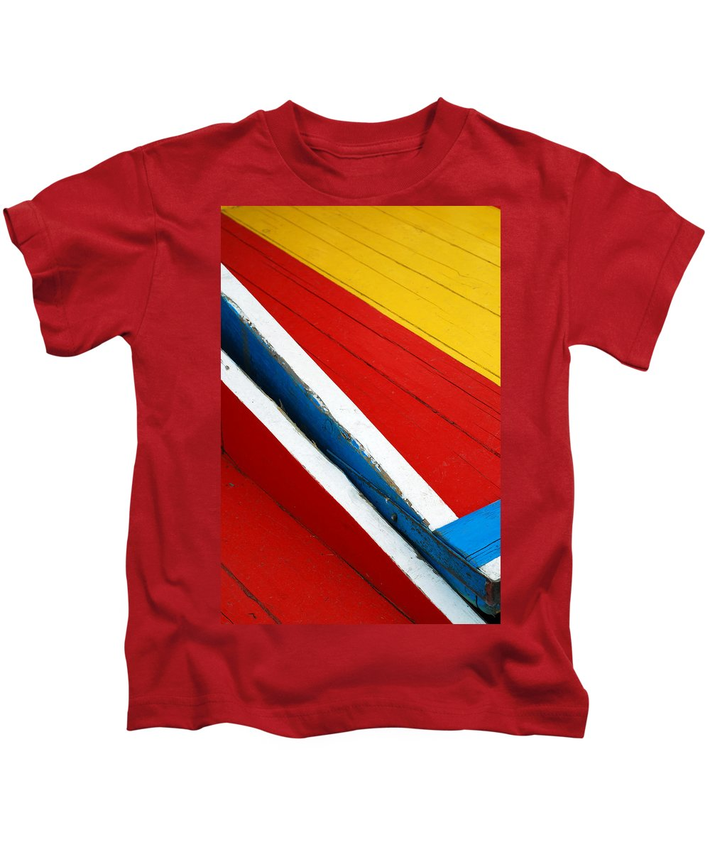 Red Kids T-Shirt featuring the photograph Xochimilco Boat Abstract 1 by Skip Hunt