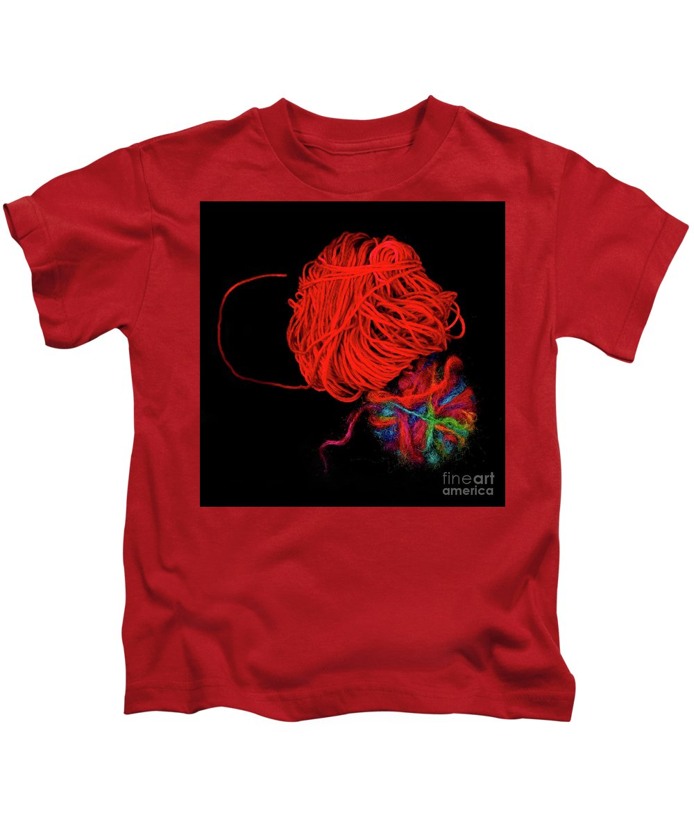 Wool Kids T-Shirt featuring the photograph Yarn Leftovers by John Wijsman