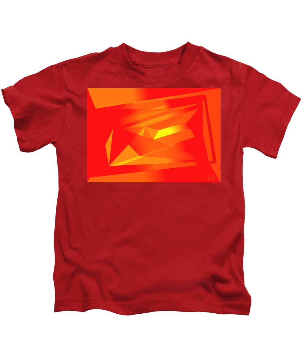 Red Kids T-Shirt featuring the digital art Yellow In Red by Helmut Rottler