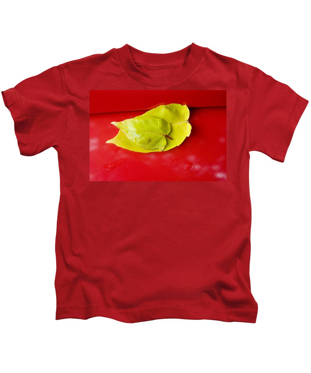 Yellow Kids T-Shirt featuring the photograph Yellow Leaves by Karen Ulvestad