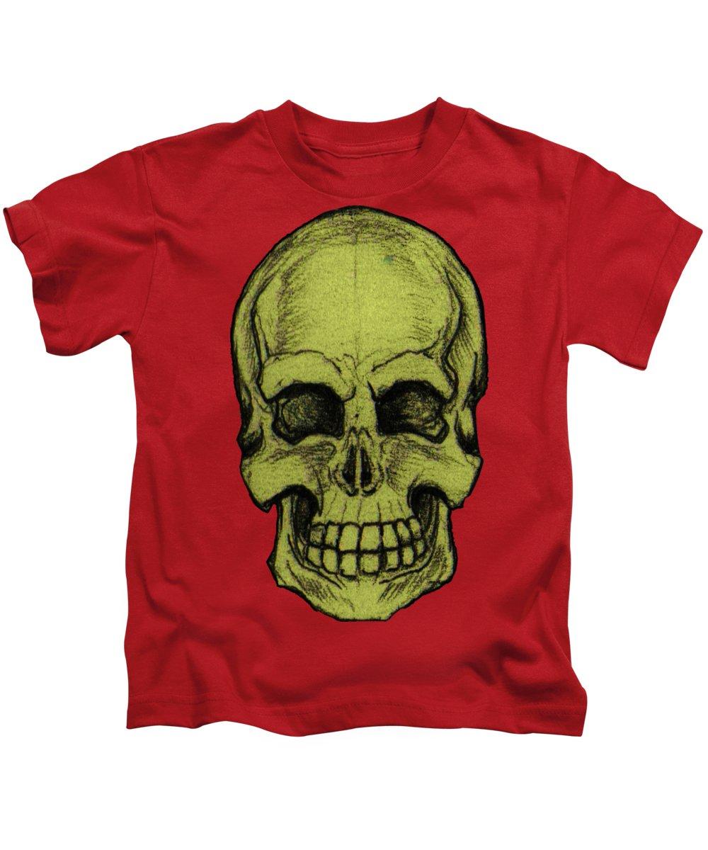 Skull Kids T-Shirt featuring the drawing Yellow Skull by Nikolaos Chantzis
