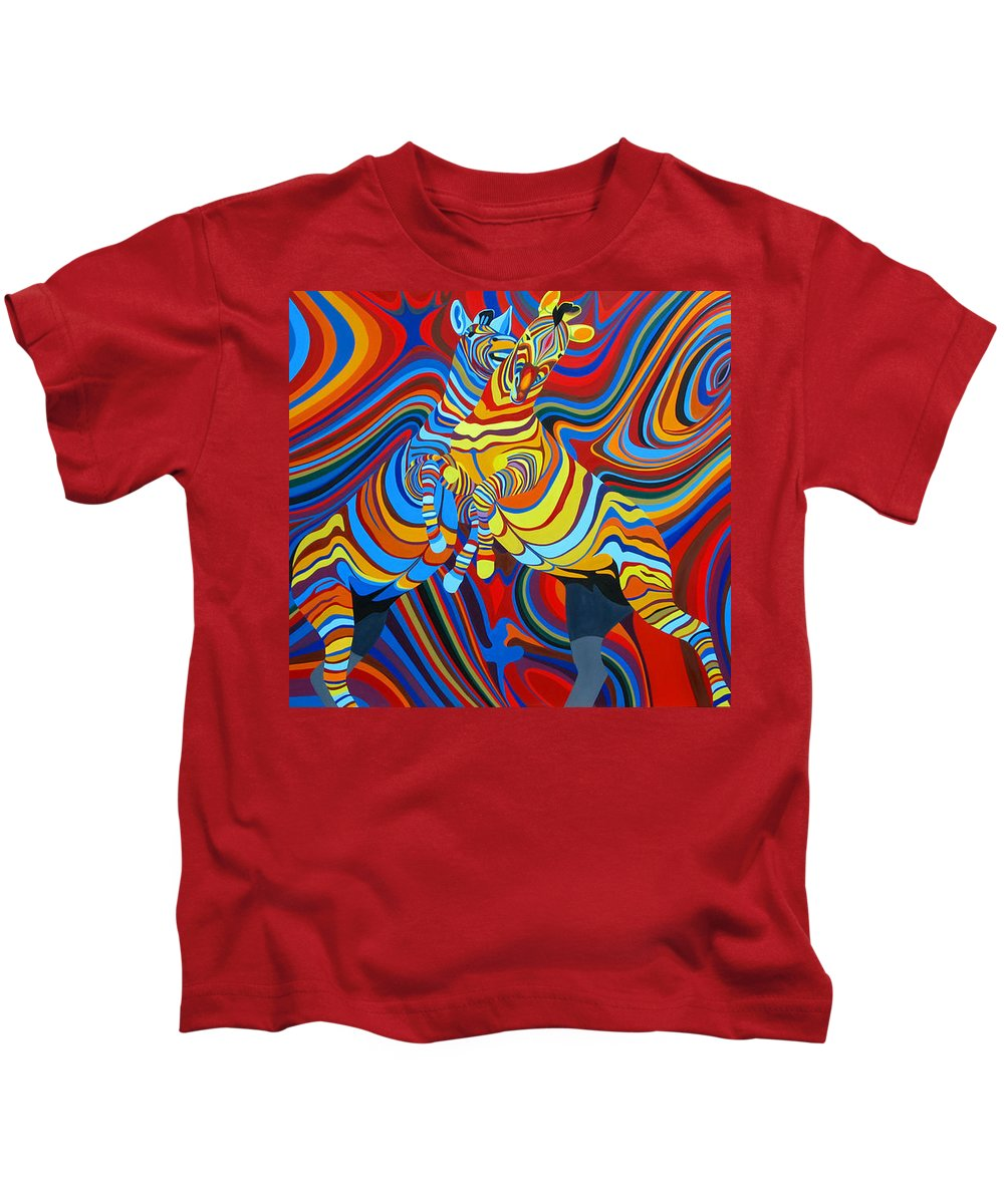 Zebra Kids T-Shirt featuring the painting Zebradelic by Pascal Etienne Roy