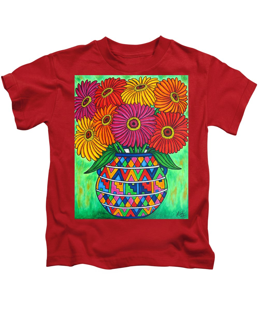 Zinnia Kids T-Shirt featuring the painting Zinnia Fiesta by Lisa Lorenz