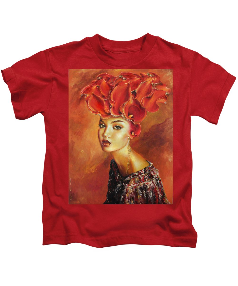 Women Red Marlena Selin Flower Girl Sky Gold Surreal Perl Sun Clouds Kids T-Shirt featuring the painting Chiquitita by Marlena Selin