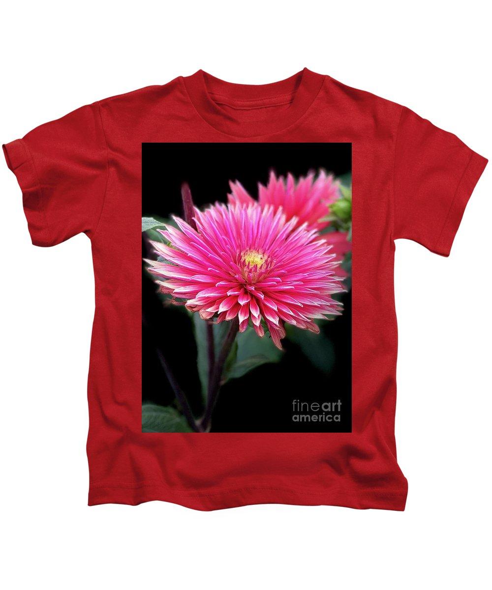 Hot Pink Dahlia Flower Kids T-Shirt featuring the photograph Hot Pink Dahlia by Susan Garren